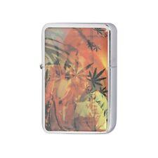 Windproof Flip Refillable Lighter Jamacian Marijuana Design * Oil not included *