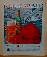 Vintage 1959 magazine ad for Carling Red Cap Ale, big red cap, bottle of Red Cap