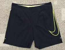 $95 Mens Size 34 Nike Dri Fit Black Neon Yellow Running  Athletic Shorts 619892