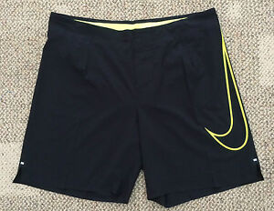 $95 Mens 34 Nike Dri Fit Black Volt Reflective Running  Athletic Shorts 619892