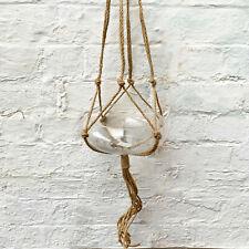 Hemp Rope Hanging Basket Home Garden Decor Oval Glass Plant Pot Terrarium Vase