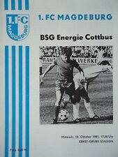 Programm 1981/82 1. FC Magdeburg - Energie Cottbus