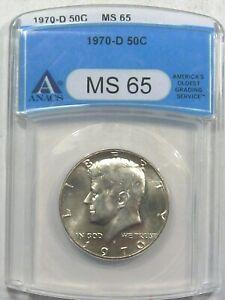 BU GEM 1970-d Silver JFK Kennedy Half Dollar ANACS MS65.  #9