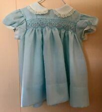 89044fcf6260d VTG POLLY FLINDERS BABY GIRLS SHORT SLV DRESS SZ 12 MOS BLUE W/WHITE TRIM