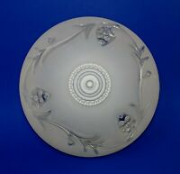 Art Deco Shade Ceiling Flush Mount Frosted Glass w/ Clear Vine Floral Design