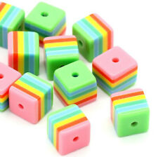 5 Acrylic Beads Colorful Square Shape and Just Plain Fun 3D 8mm x 8mm - Bd400