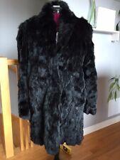 NWT $600 PARASUCO Real Black Rabbit Fur Coat Jacket Size Large Elegant Fashion