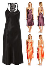 Lingadore Nubia Black Satin Long Chemise Night Dress Nightie Sleepwear Size XS