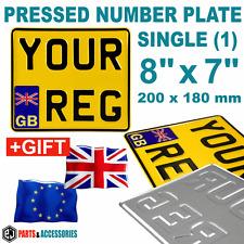 """8"""" x 7"""" GB EURO badge Motorbike Motorcycle Bike Metal PRESSED Number Plate +GIFT"""