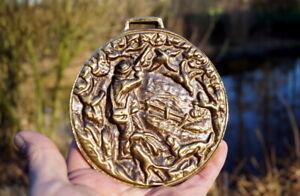 wunderschönes altes Jagdbild Handarbeit massiv Bronze 780g seltenes Sammlerstück