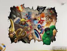 Marvel Lego 3D Look Wall Vinyl Sticker - Avengers Childrens Bedroom Mural
