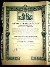 Hispana de Inversiones  1953  share certificate