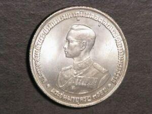 THAILAND 1963 20 Baht King Bhumiphol Birthday Silver Crown Unc