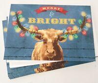 24 LONGHORN BULL Christmas Holiday Cards Image Arts Hallmark Lights on horns NEW