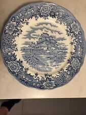Salem China Company English Village Old Staffordshire Dinner Plate Blue
