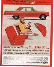 1962 MERCURY Meteor S-33 Red 2-door Coupe Bucket Seats Vtg Print Ad