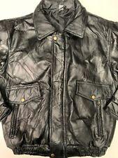 Mens Black Genuine Lether Bomber Jacket Size M