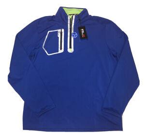 Ralph Lauren RLX Monaco Club 1/4 Zip Golf Performance Pullover Blue L NWT $138