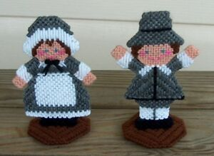 Set of 2 New Handmade Pilgrim Boy & Girl Stand Ups Thanksgiving Table Decor