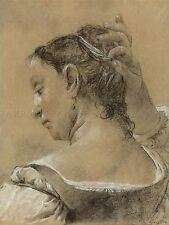 DOMENICO MAGGIOTTO ITALIAN YOUNG WOMAN FIXING HAIR ART PAINTING POSTER BB5195A