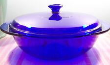 Anchor Hocking Cobalt Blue Glass Covered Casserole Dish 2 qt