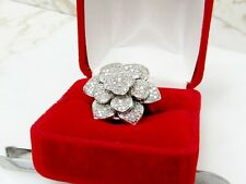Large 1 Carat Diamond Flower Cocktail Ring 925 Sterling Silver Size 8