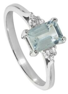 Aquamarine and Diamond Ring Solitaire Engagement White Gold Certificate