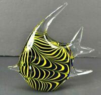 "Murano Style Tropical Angel Fish Shaped Art Glass Paperweight 7.5"" Blue Yellow"