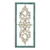 Distressed Turquoise Scroll Panel Hanging Interior Wall Art Home Decor