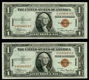 (2) 1935 A SILVER CERTIFICATE HAWAII CONSECUTIVE EMERGENCY ISSUES FR# 2300