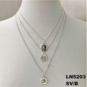 Silver Triple Layered Buddha Lotus Flower Charm Necklace