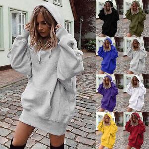 Womens Loose Shift Sweatshirt Ladies Tops Hooded Hoodies Long Sleeve Mini Dress