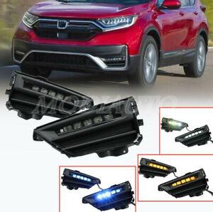 Fit For Honda CR-V CRV 2020-2021 DRL LED Daytime Running Lights Fog Lamps w/Turn
