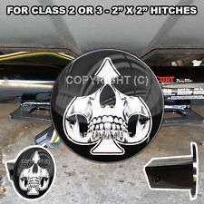 """Tow Hitch Receiver Insert Cover Plug  2"""" x 2""""  Truck & SUV - Spade Ghost Skull"""