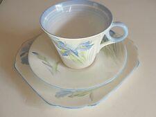 Rare Vintage 1935 Shelley 12384 blue Iris Regent shape cup & saucer  plate trio