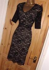 Stretchy black nude vintage 40s lace pencil wiggle evening cocktail dress sz 12