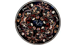 """36"""" Black Marble Round Dining Table Top Multi Floral Inlay Christmas Decor B569"""