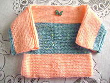 "New Hand Knitted Simple Slash Neck Sweater 20"" chest"
