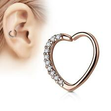 Rose Gold 16 Gauge Heart  Ear Cartilage/Daith Hoop Ring with Clear Lined CZ Set