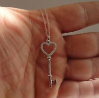 HEART KEY NECKLACE PENDANT W/ .50 CT ACCENTS/ 925 STERLING SILVER/ 48MM BY 14MM
