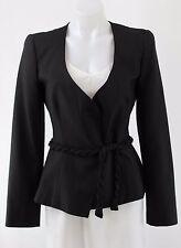 Giorgio Armani Black Braided Belt Decollete Neck Blazer Jacket Size 44/10