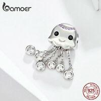 US Center Fine Women S925 Sterling silver CZ Charm Octopus Baby DIY For Bracelet