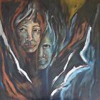 (525) > Im Schatten <  Acryl auf Leinwand ca. 100 x 100 cm  Keilrahmen