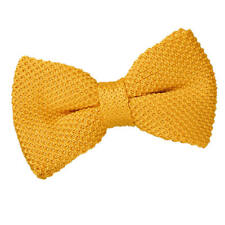 DQT Knit Knitted Plain Solid Marigold Yellow Classic Mens Pre-Tied Bow Tie