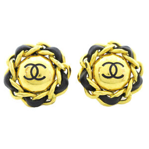 CHANEL CC Logos Button Motif Earrings Gold Black Clip-On 93P Accessories 40343