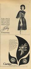 1962 Hadley fashion dress &  Cartier details earrings & brooch PRINT ADs 2 for 1