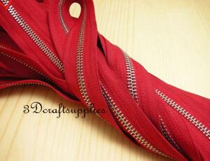 #5 zipper red silver teeth Sewing Craft 1 yard (no metal fitting) AC15
