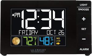 La Crosse Technology W88723 Color Alarm Clock with Temperature  Humidity with U