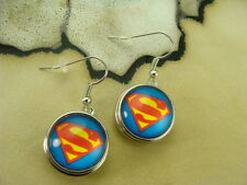 SUPERMAN 18mm SNAP BUTTON SILVER HOOK DANGLE EARRINGS