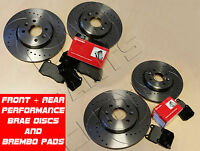 FOR MAZDA RX8 RX-8 FRONT and REAR DRILLED GROOVED BRAKE DISCS BREMBO BRAKE PADS
